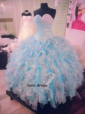 New Cheap Blue Quinceanera Formal Prom Party Ball Wedding Dress Custom Size2-28+