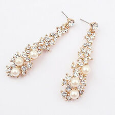 GORGEOUS 18K GOLD PLATED PEARL  AND CLEAR CRYSTAL LONG DANGLE  EARRINGS