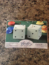 Dice Casino Royale Earthenware Salt & Pepper Shaker Set *New* #5367