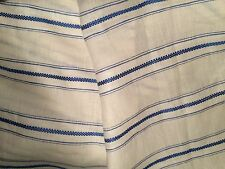 HOLLAND SHERRY C+C MILANO Cerro Greca white blue stripe linen New large remnant