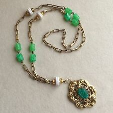 VINTAGE Green WHITE Lucite WIRED Bead JADE Glass PENDANT Gold CHAIN Necklace