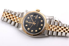 Rolex Mens 18K/SS Datejust Black Diamond Dial, Jubilee Band, Quickset Model