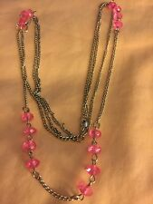 "Grandmas Estate 24"" Double Silvertone Chain Pink Lucite Necklace"