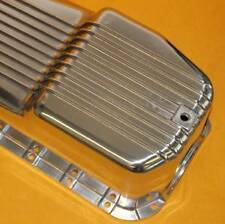 SBC Polished Aluminum Finned Oil Pan Chevy 79 Down 2Pc Rear Main Driver Side