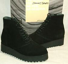 Jeffrey Campbell CYRANO platform ankle booties black Suede leather 7M NEW