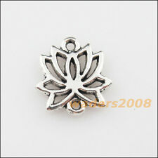 10 New Charms Tibetan Silver Lotus Flower Pendants DIY Connectors 14.5x16mm