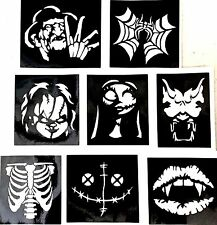 9 halloween stencils Freddy Chucky Top up Ur glitter tattoo kit facepainting