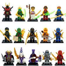 15 Pcs Ninjago Mini figures Cole Lloyd Titanium Zane Jay Kai Fits Lego B