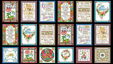 Mary Engelbreit Words To Live By Cotton Fabric Mottos Flowers Words QT ~ Panel