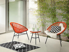 Garden bistro set, table and 2 chairs, Mexican chair, weave pattern, orange