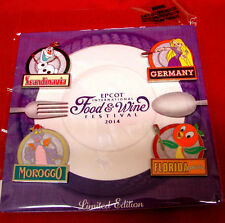 Epcot Food and Wine Festival Pins 2014 LE Disney Pin Set Figment & 2016 Map