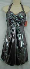 Phoebe Couture Silver Black Liquid Metallic Knot Front Grecian Halter Dress SZ 6