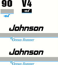 Johnson Ocean Runner V4 90hp Fishing Boat Sticker 4 Colour Decal Marine Set of 4