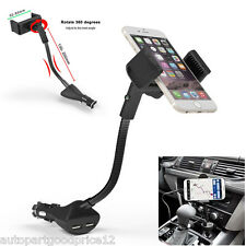 360° Adjustable Car Smartphone Mount Holder Dual USB Charger For iPhone Samsung
