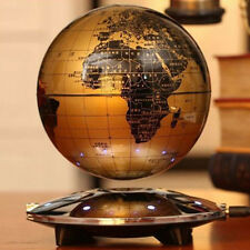 "6"" Golden Magnetic LED Levitation Floating Globe World Map Rotating Earth Decor"