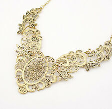 Hot Retro Vintage Hollow Out Crystal Charm Bib Choker Necklace Fashion Jewelry