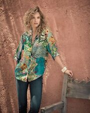 $200 NWT Johnny Was Silk Brightwood Button-Down Top Blouse Tunic Sz XL L/S