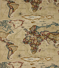 1 METRE ATLAS ANTIQUE VINTAGE WORLD MAP FABRIC PRESTIGIOUS TEXTILES 100% COTTON