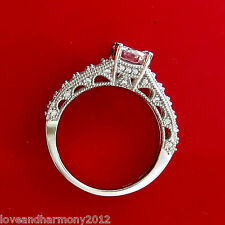 Real 14K solid White gold Vintage 1.90 ct Round Brilliant cut Engagement Ring