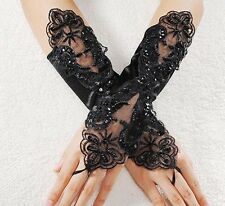 Goth/steampunk/ burlesque Lace Pearl Satin Bridal Fingerless Gloves.black or red