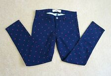NEW Hollister Womens Skinny Jeans Capris Jeggings Size 1 Blue Polka Dot Pants