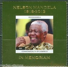 DOMINICA  2014  NELSON MANDELA MEMORIAL GOLD FOIL SOUVENIR SHEET    MINT NH