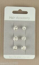 CARD OF CLEAR 6mm CRYSTAL & SILVER TONE HAIR COILS/SPIRALS (6/CARD), PARTY: 0242