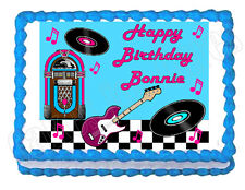 Rock and Roll 50's 60's edible party cake topper decoration frosting sheet