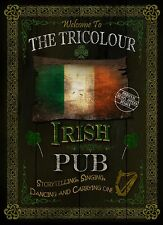 "IRISH PUB SIGN: ""THE TRICOLOUR""  VINTAGE 8""X6"" METAL SIGN / PLAQUE"