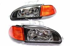 92-95 Honda Civic JDM Black Head lights w/City Light + 2/3 EG EJ Amber Corners