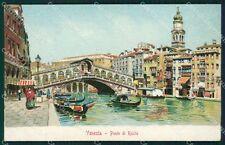 Venezia Città Ponte Rialto Gondole cartolina XB2114
