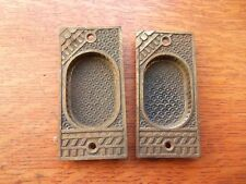 Two Antique Fancy Victorian Eastlake Iron Pocket Door Pulls Pull Plates c1886