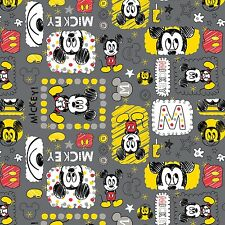 "Camelot Iron Mickey 100% cotton 43"" fabric by the yard"