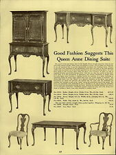 1937 PAPER AD Queen Anne Early English Dining Room Furniture The Cambridge Suite