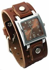Nemesis BB516B Men's Brown Wide Leather Cuff Band Analog Brown Dial Watch