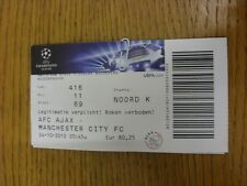 24/10/2012 Ticket: Ajax v Manchester City [Champions League] (folded). Thanks fo