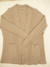 STUNNING *M&S WOMAN* CAMEL BROWN SUPER SOFT 100% CASHMERE RIB CARDIGAN Sz 8