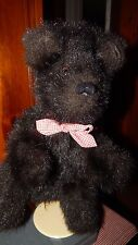Vintage Black / Brown Bear Full Body Plush Puppet W/ Red Gingham Neck Bow 14""