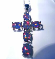 "STUNNING BLACK FIRE OPAL 6 STONE CROSS PENDANT + 18"" SILVER CHAIN."