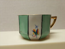 Fine Bone China Cup Porcelain Co. Gold Antique Green Flower Crown Staffordshire