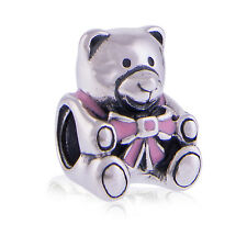 Genuine Sterling Silver Baby Girl Teddy Bear Enamel Charm 791124EN24 Authentic