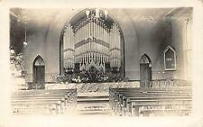 RPPC Swedish Lutheran Church Interior OAKLAND NE Vintage Nebraska Postcard 1910s