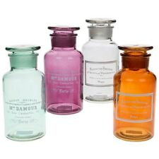 Bel ensemble de 4 apothecary coloré bouteilles en verre de stockage jar nouvelles Boîte 18cm