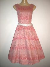 NEW VINTAGE 50'S STYLE PINK HEART PRINT ROCKABILLY PARTY SWING DRESS SIZE 10