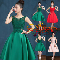 New Stock Short Satin Formal Prom Party Cocktail Gown Evening Bridesmaid Dresses