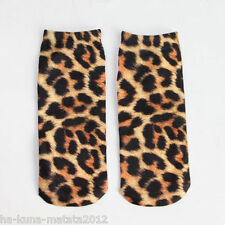 LEOPARD PRINT New Trainer SOCKS; UK Shoe Size 3-7, 1pr 3D Digital Photo, UK Sale