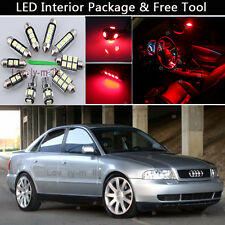 11PCS Canbus RED LED Interior Lights Package kit 6411 Fit 1996-1998 Audi A4 B5
