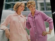 """Knitting Pattern Donne Ragazze Cardigan Camicia Collare Stile 34-44"""" GROSSE VINTAGE"""