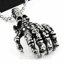 Stainless Steel Gothic Punk Skull Claw Charm Pendant Necklace PJ0589
