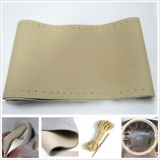 Beige Genuine Leather Steering Wheel Covers Needle & Thread For Infiniti Nissan